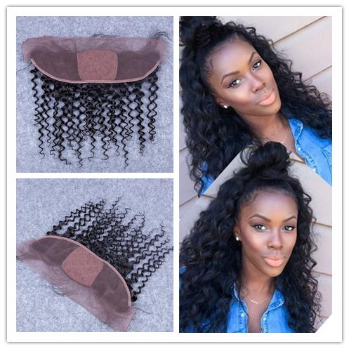 4x4 Silk Base Lace Frontal Closure Cheap Peruvian Deep Curly Human Hair Silk Top 13x4 Ear to Ear Lace Frontal Pieces Bleached Knots
