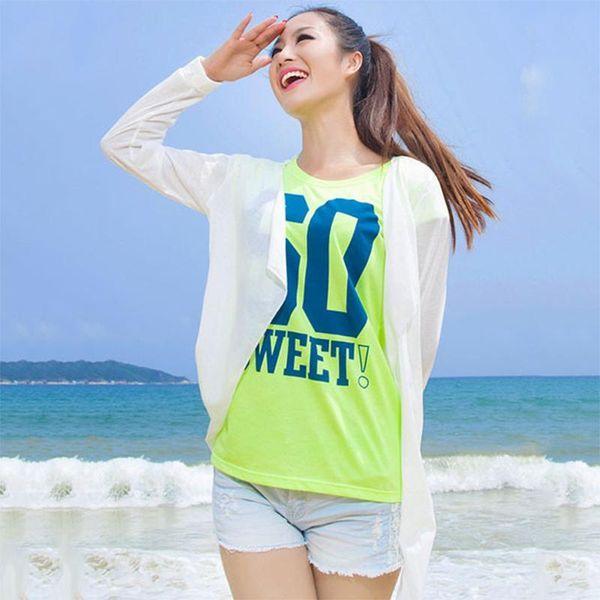 Wholesale- 2016 Summer Women Beach Tunic Wear Girl Prevent Bask Clothes Long Sleeve Casual Coat Bikini Cover-Ups Pareo Free Shipping WS148