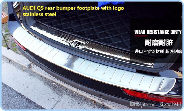 Free Shipping! High quality stainless steel rear bumper scuff footplate,guard plate,protection plate with logo for AUDI Q5 2009-2015