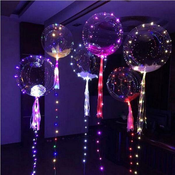 Globos transparentes claros de la noche de la onda de la bola del PVC del globo de destello con la secuencia ligera Airballoon de 18 pulgadas para las decoraciones de la boda