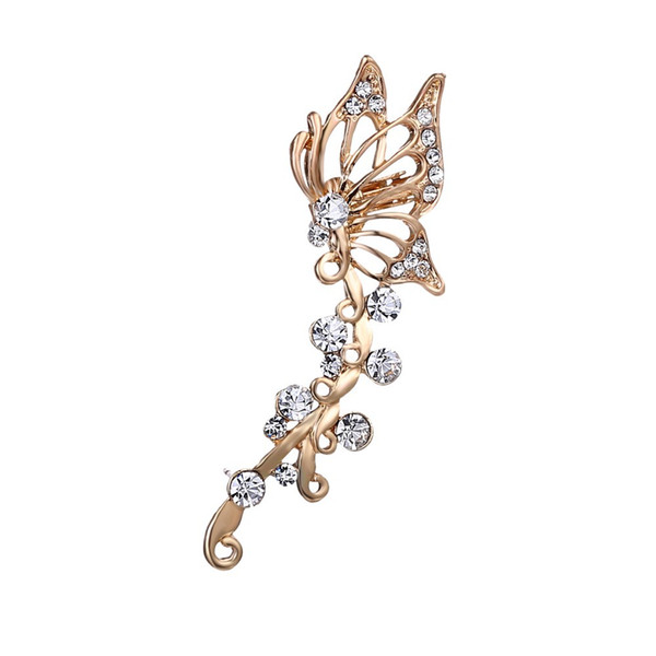 1pcs Ear Cuff Clip On The Ear Jewelry for women girl New Fashion Exquisite Gold Crystal Butterfly Clip Earrings Women