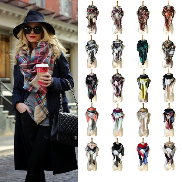 New Autumn Winter Triangel Warm Scarf Tartan Plaid Blanket Hijab Women Scarves Shawls Bandana Poncho Ladies Scarf