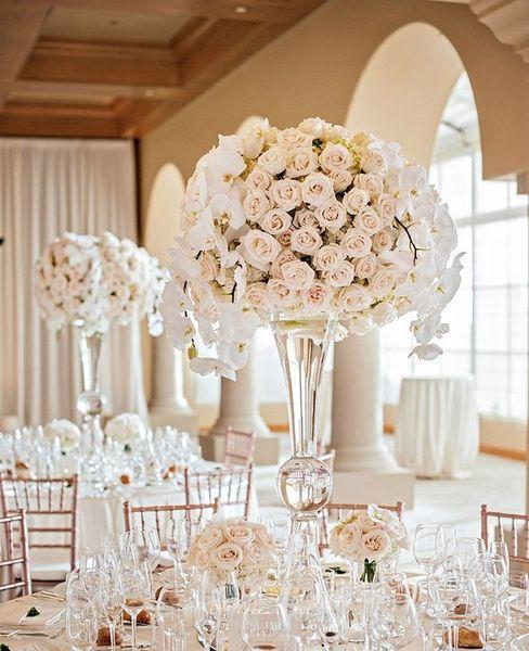 sliver mental not clear )trumpet mental vase for party events,sliver mental flower vases for wedding table centerpieces