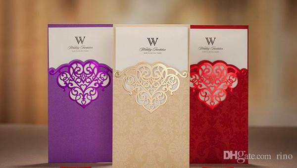 Ücretsiz Özelleştirilmiş Düğün Davetiyeleri Kartları Hollow Düğün Davetiyesi Ile Klasik Davetiyeleri Folyo Damgalama Düğün Davetiyeleri Kart Zarf