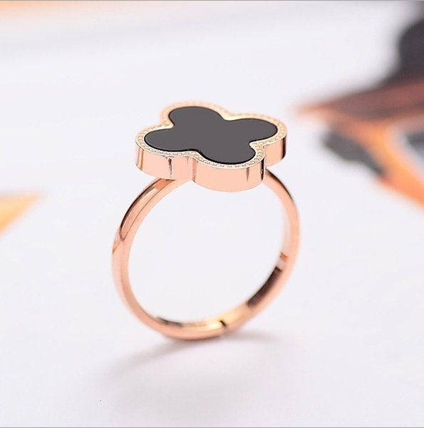 top popular Clover Black Onyx 925 Silver Ring Carnelian female ring opening Japan and South Korea creative minimalist Clover 2019