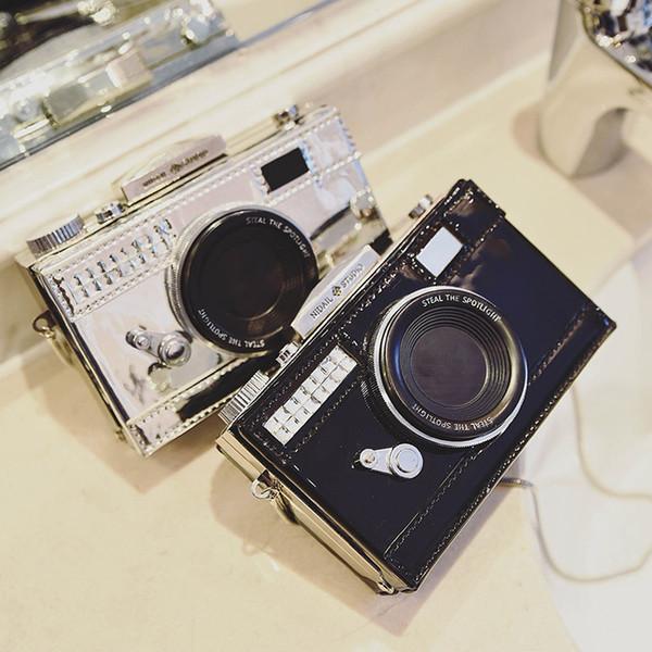 Borsa della messaggero di forma della macchina fotografica di modo all'ingrosso- per le borse di sera della frizione delle signore della borsa di cuoio delle donne della patta di personalità