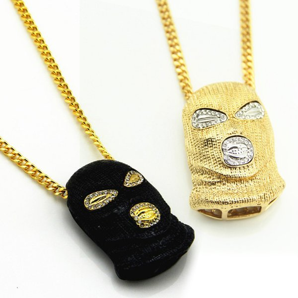 3 Style Hip Hop Stainless Steel Crystal Mask Pendant Chain Inlaid Rhinestone Necklace CS Mask New Jewelry Support FBA Drop Shipping J13S
