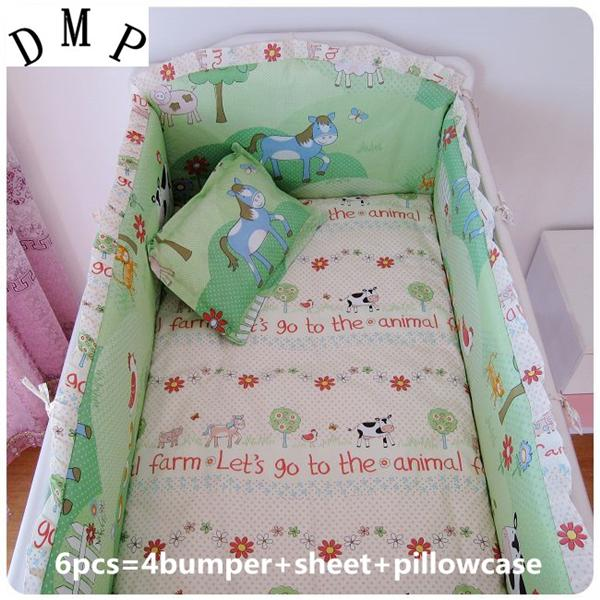 Promotion! 6PCS Cartoon Cotton Baby Bedding Set Cartoon Animals Crib Bedding curtain crib bumper,include(4bumpers+sheet+pillowcase)