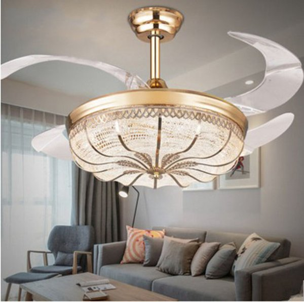 top popular 36   42 inch Gold Modern LED Retractable Ceiling Fans With Lights Living Room Home Decoration Folding Ceiling Fan Lamp 110   220 Volt LLFA 2021