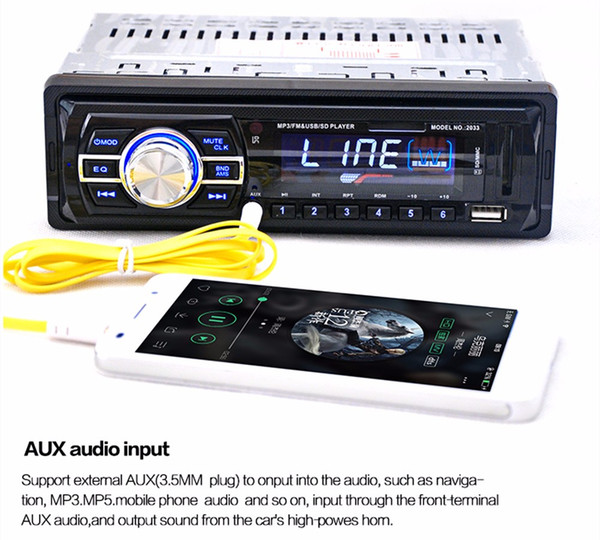 top popular High Quality 2033 Car Radio Audio Stereo Support FM SD MP3 Player AUX-IN USB with 12V Remote Control for Vehicle Audio Radio 2019