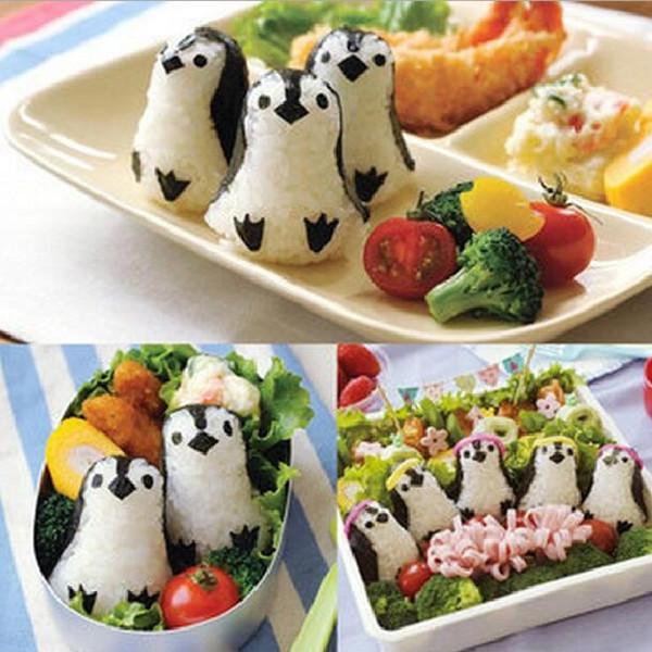 2016 Новый симпатичный пингвин для пиццы для рисования Рисовые шарики Mold Kimbap DIY Sushi Bento Tools Кухонные гаджеты