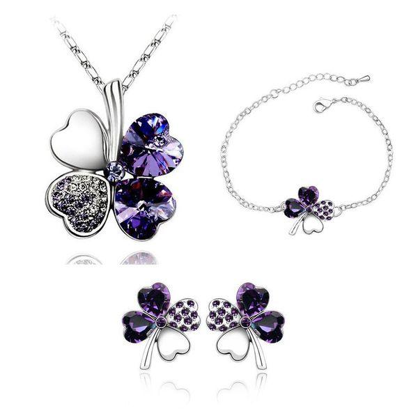 Fashion Four Leaf Clover Pendant Necklaces Jewelry Sets Austria Zircon Crystal Necklace+Earrings+Bracelet Set Love Heart Jewellry Free DHL