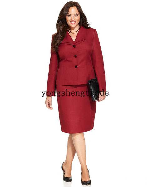 Plus Size Three-Button Customized Wine Skirt Suit & Pencil Silhouett Skirt Double Foldover Collar Both Pieces Are Lined HS8026