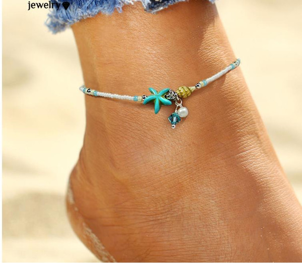 best selling Shell Anklet pearl Beads Starfish Anklets For Women 2017 Fashion Vintage Handmade barefoot Sandal Statement Bracelet Foot Boho Jewelry