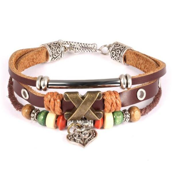 Newest Leather Wrap Bracelets For Man Casual Sporty Three Layers Leather with Alloy Men Jewelry Heart Pendant
