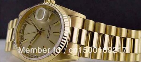 Luxury en's 18kt Gold 36mm Day-Date President - Silver Stick 18238 SANT BLANC Relojes para hombres de alta calidad automáticos