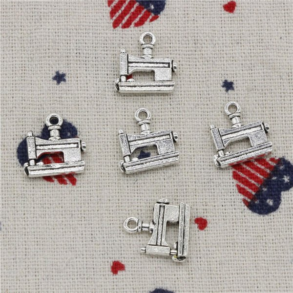 93pcs Charms sewing machine 15*15mm Antique Silver Pendant Zinc Alloy Jewelry DIY Hand Made Bracelet Necklace Fitting