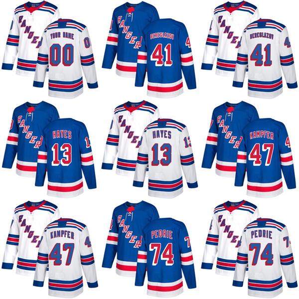 2017 New Brand Mens New York Rangers 13 Kevin Hayes 41 Alexei Bereglazov 47 Kampfer 74 Pedrie Blue White maglie di hockey su ghiaccio Accetta personalizzato