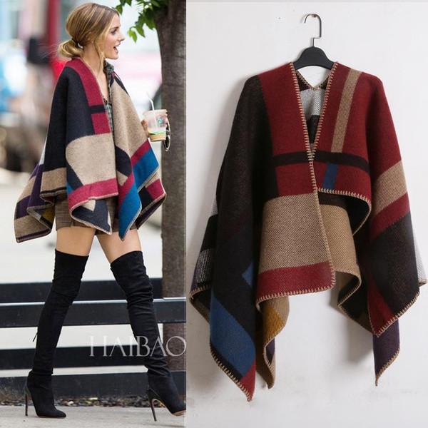 nouvelle couverture écharpe en cachemire surdimensionné sPashmina manteau dame femme châle à carreaux ouverte correspondant en laine mélangée de mode