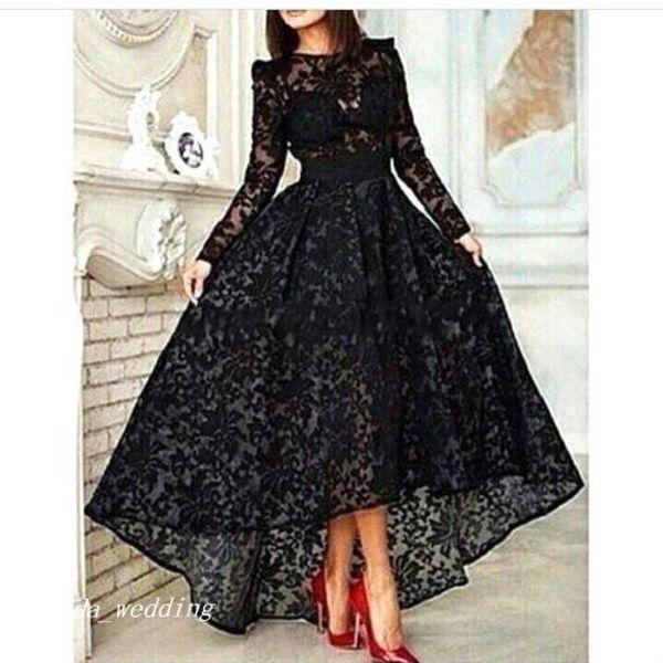 2019 Черное кружевное платье для выпускного вечера Высокие низкие рукава Платье для особых случаев Формальное вечернее платье