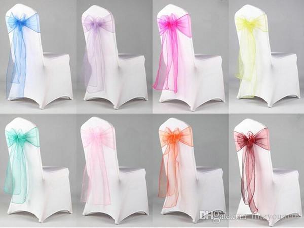 Toptan Yeni Organze Sandalye Sashes Bow Düğün Ve Olaylar Malzemeleri Parti Dekorasyon ücretsiz kargo