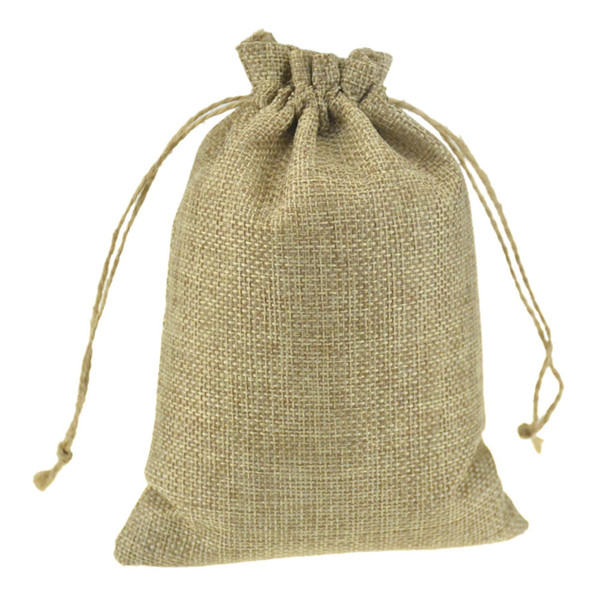 13x18cm Custom Printed Promotional Faux Jute Drawstring Pouches Drawstring Gift jewelry packaging bags Stylish Natural Burlap Reusable