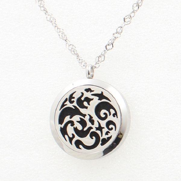 Pendente d'argento della collana dell'acciaio inossidabile del diffusore 30MM del pendente del pendente del medaglione del profumo delle onde d'argento 5PCS con la catena dei rilievi