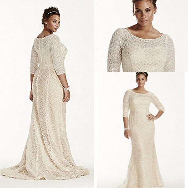 2019 Oleg Cassini Bridal Plus Size Fully Lace 3/4 Long Sleeve Mermaid Beach Wedding Dresses Luxury Beaded Cheap Trumpet Wedding Gown