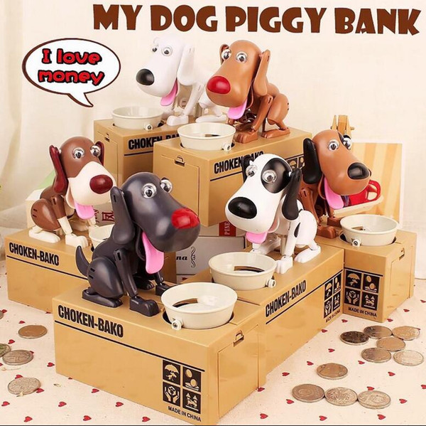 Creative Automatic Eating Coin Hungry Dog Piggy Bank Money Box piggy bank Eat Money Save Pot Saving Coin Box I Love money KKA2656