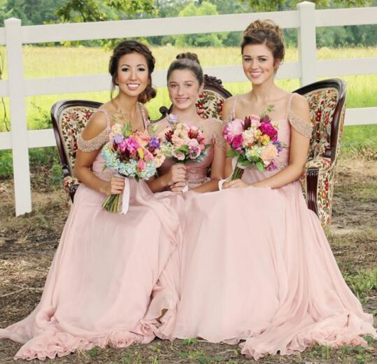 Splendido abito da damigella d'onore in chiffon lungo rosa in stile europeo Abiti da damigella fantasia di alta qualità scintillante perline paillettes