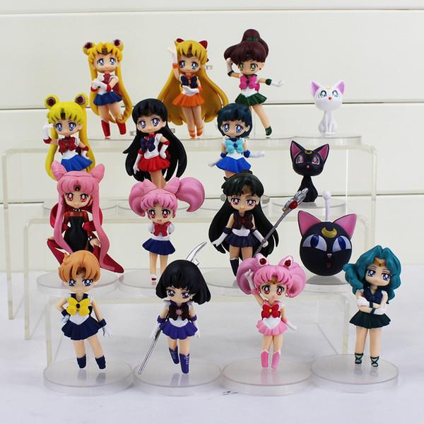 16pcs/set Anime Sailor Moon Figures Tsukino Usagi Sailor Mars Mercury Jupiter Venus Saturn Figure Toys PVC Doll