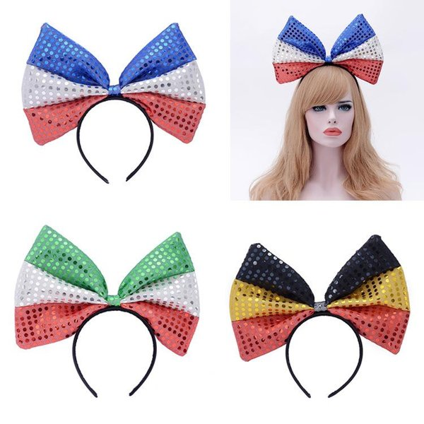 A Large Bow Sequin Cloth Flag Headband World Cup Fans Headdress Hairpin