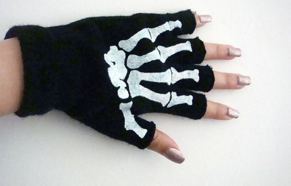 Halloween Magic Gloves Elastic Fingerless Skull Cycling Gloves Bicycle Half Finger Gloves For Party outdoors multifunctional free shipping