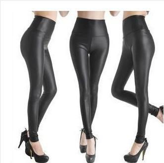 2017 Women Hot Sexy Black Wet Look Faux Leather Leggings Slim Shiny Pants Plus size S M L XL XXL