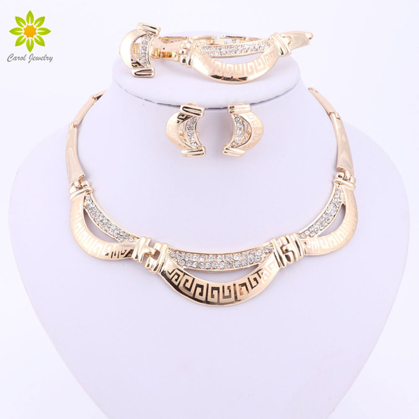 Fine Gold Plated Crystal Rhinestone Costume Statement Necklace African Beads Jewelry Sets For Women Wedding Accessories Set