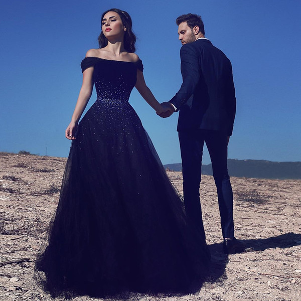 100% Real Image Off Shoulder Navy Blue Evening Dresses 2018 Elegant Saudi Arabic Prom Dresses Formal Evening Gowns Lace Up