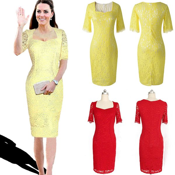 New Arrival Elegant Lady Lace Dresses Same As Princess Kate Noble Half Sleeve Square Collar Red Yellow Celebrities Party Dress