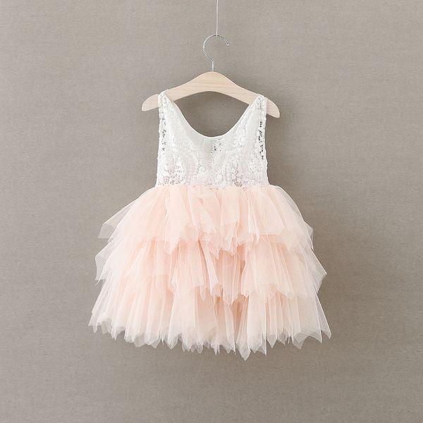 Hot Christmas 2018 Baby Girls Crochet Lace Dresses Girl Summer Princess tutu Party Dress Kids girl Pearl Cake Dress Children's clothing