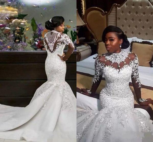 2019 Nouveau Africain Luxueux Col Haut Sirène Robes De Mariée Cristaux Sheer Manches Longues Appliques Robes De Mariée De Mariage Robe De Novia