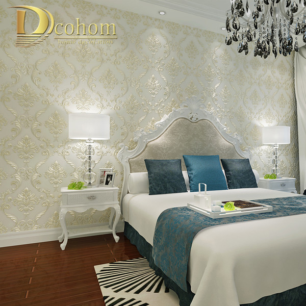 grohandels moderne einfache beige rosa damast tapete fr wnde 3 d europischer luxus - Luxus Schlafzimmer Wande