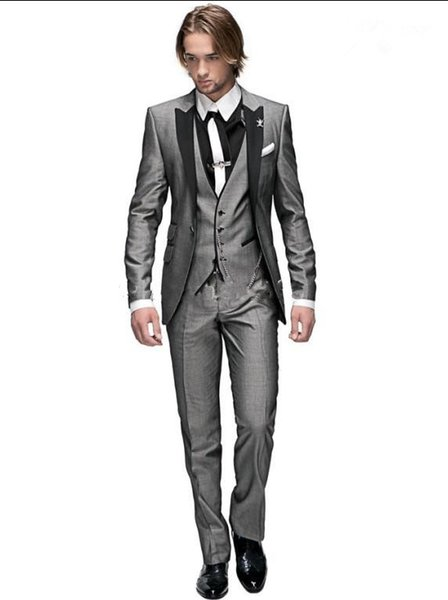 Custom Made Groom Tuxedos Light Grey Peak Black Lapel Best man Groomsman Men Wedding Suits Prom/Form/Bridegroom (Jacket+Pants+Vest )
