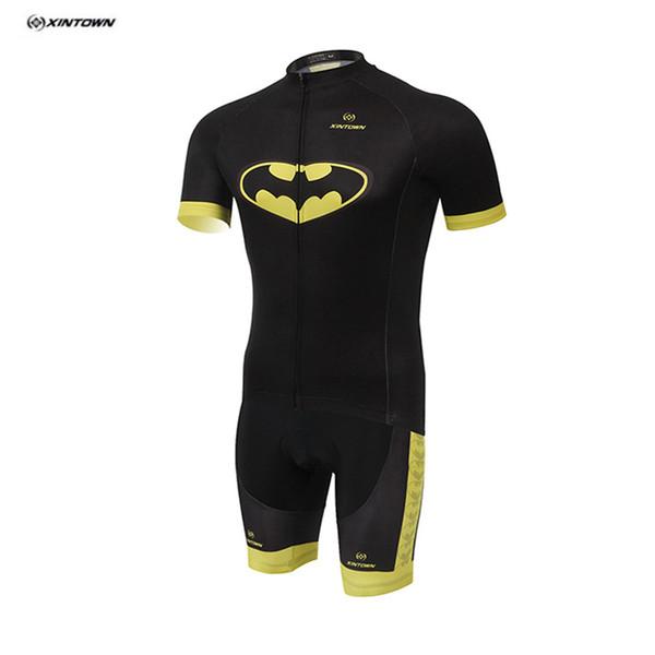 2016 Free shipping XINTOWN 3D Printing Batman Short Sleeves Cycling Jerseys Set Quick Dry Mtb Bike Clothes Shirt Short Pants Breathable Bib