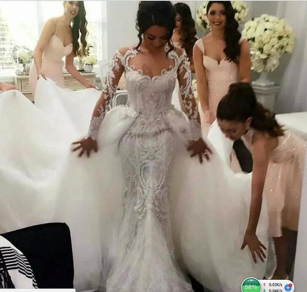 Retro 2017 Full Lace Mermaid Wedding Dresses with Detachable Tulle Overskirt Berta Jewel Neck Long Sleeves Pearls Embroidery Bridal Gowns