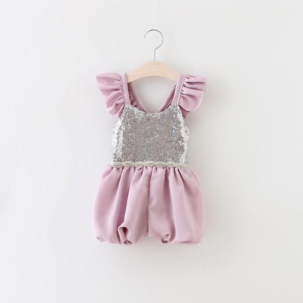 best selling Sale Girls sequins Jumpsuits Kids lace falbala fly sleeve suspender shorts Baby Girls purple beaded belt princess one-piece A8896