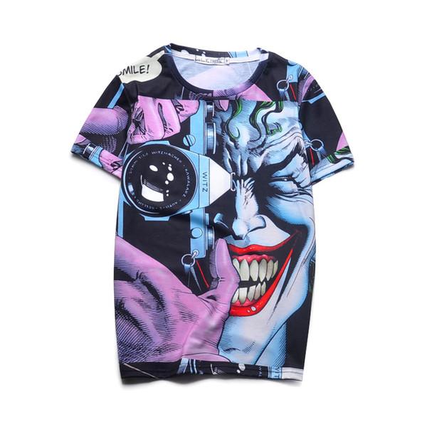 Vente en gros-Top Qualité Imprimé 3D T Shirts Nouveauté Joker Design Summer Tee de Bande Dessinée Cool Tee Tops Vêtements Pour Hommes / Femmes 16 #