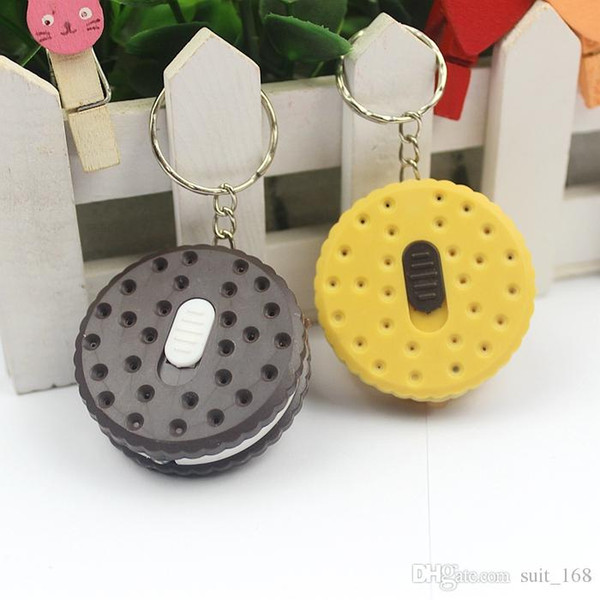 Novelty simulation biscuit biscuits LIGHT LED flashlight key chain key ring key chain bag pendant