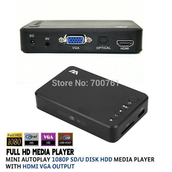 Wholesale-Full HD 1080P SD/U Disk HDD Media Player USB External multimedia player With HDMI VGA Output Support MKV H.264 RMVB WMV