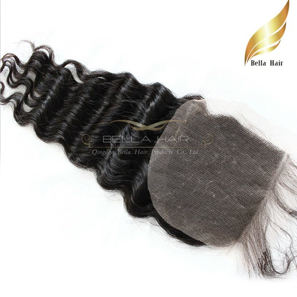 Brazilian Hair Cheap Human Hair Weave Lace Closure Deep Wave Curly Extensions Top Closures Weave (4x4) Free Shipping Natural Color Bellahair