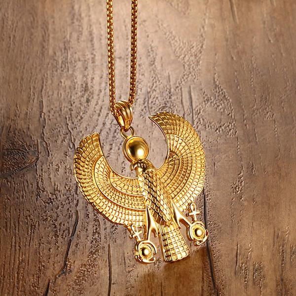 Wholesale- Men Necklaces Gold Plate Egyptian Flying Horus Bird Falcon Holding Ankh Pendant Fashion Hip Hop Costume Jewelry Vintage Choker