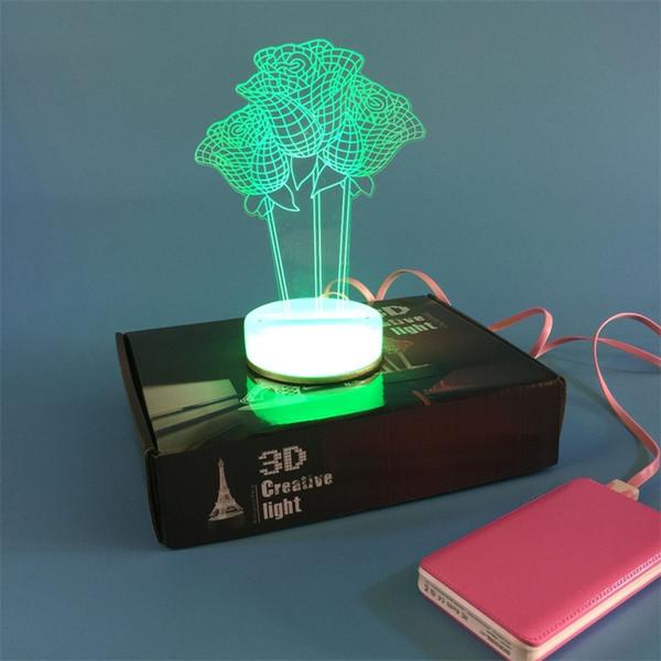 3D Small Desk Lamp USB Bluetooth Three Roses Art Colorful DIY LED Night  Light Bedside Lamp